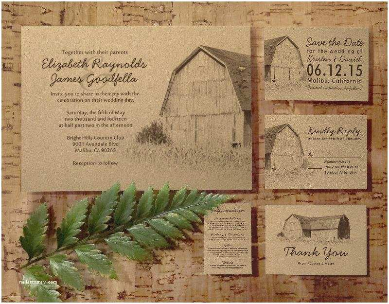 Farm Wedding Invitations Simple Farm Wedding Invitation Set Suite Invites Save