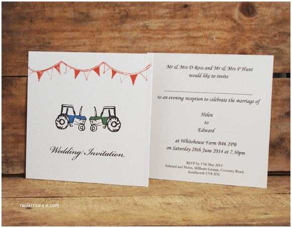 Farm Wedding Invitations Tractors Square Style Single Card Wedding Invitations