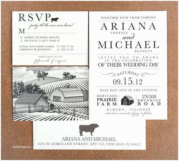 Farm Wedding Invitations Wedding Invitation Party Till the Cows E Home Wedding