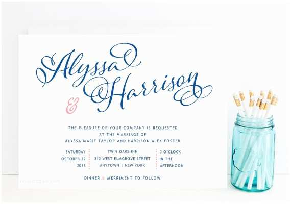 Fast Wedding Invitations Navy and Pink Wedding Invitation Whimsical Script Navy