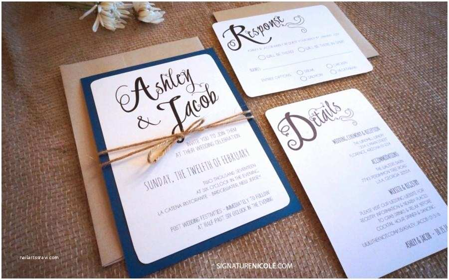 Fast Wedding Invitations Rustic Navy Wedding Invitation with Rsvp and Detail Card