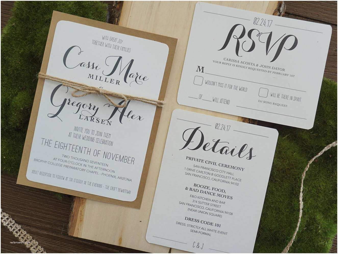 rustic wedding invitation assembled with rsvp and detail cards
