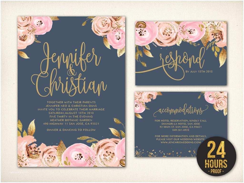 Fast Wedding Invitations Wedding Invitation Navy Blush Gold Invitation Blush Gold