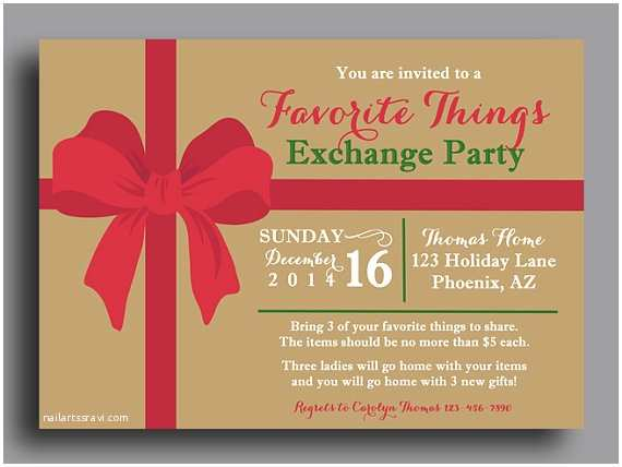 Favorite Things Party Invitation Christmas Favorite Things Invitation Printable or Printed W
