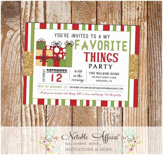 Favorite Things Party Invitation Dark Red and Green Stripes with Gold Glitter My Favorite