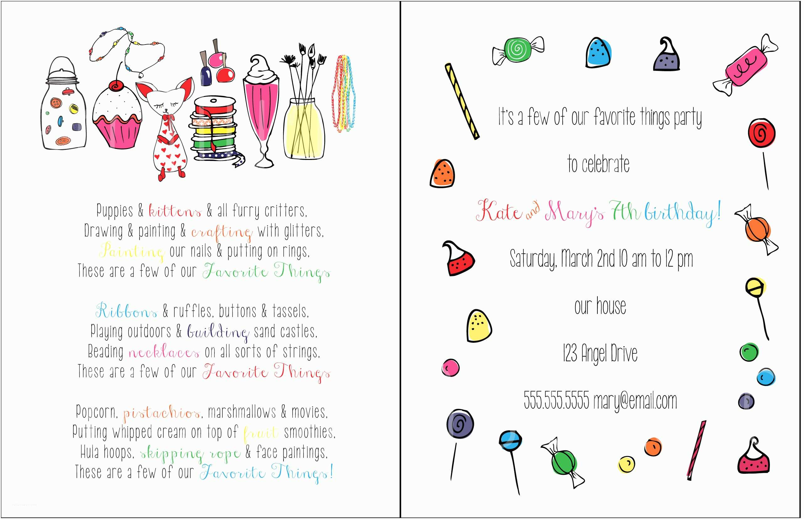 Favorite Things Party Invitation Favorite Things Invite