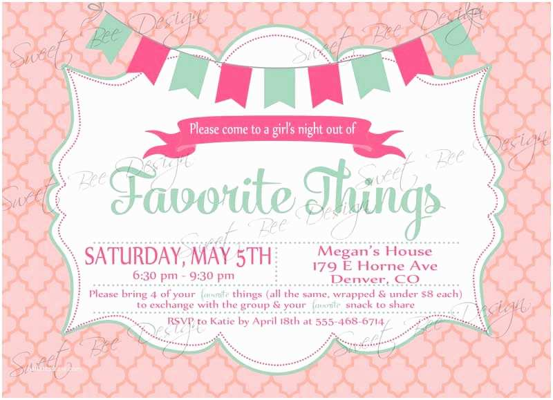 Favorite Things Party Invitation Favorite Things Party Invitation Custom Printable
