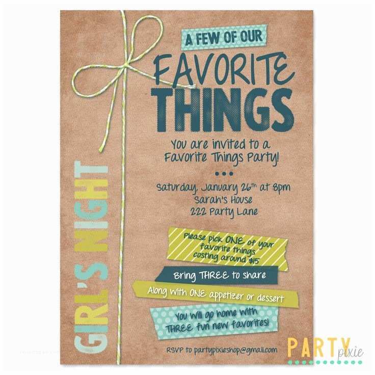 Favorite Things Party Invitation Favorite Things Party Invite