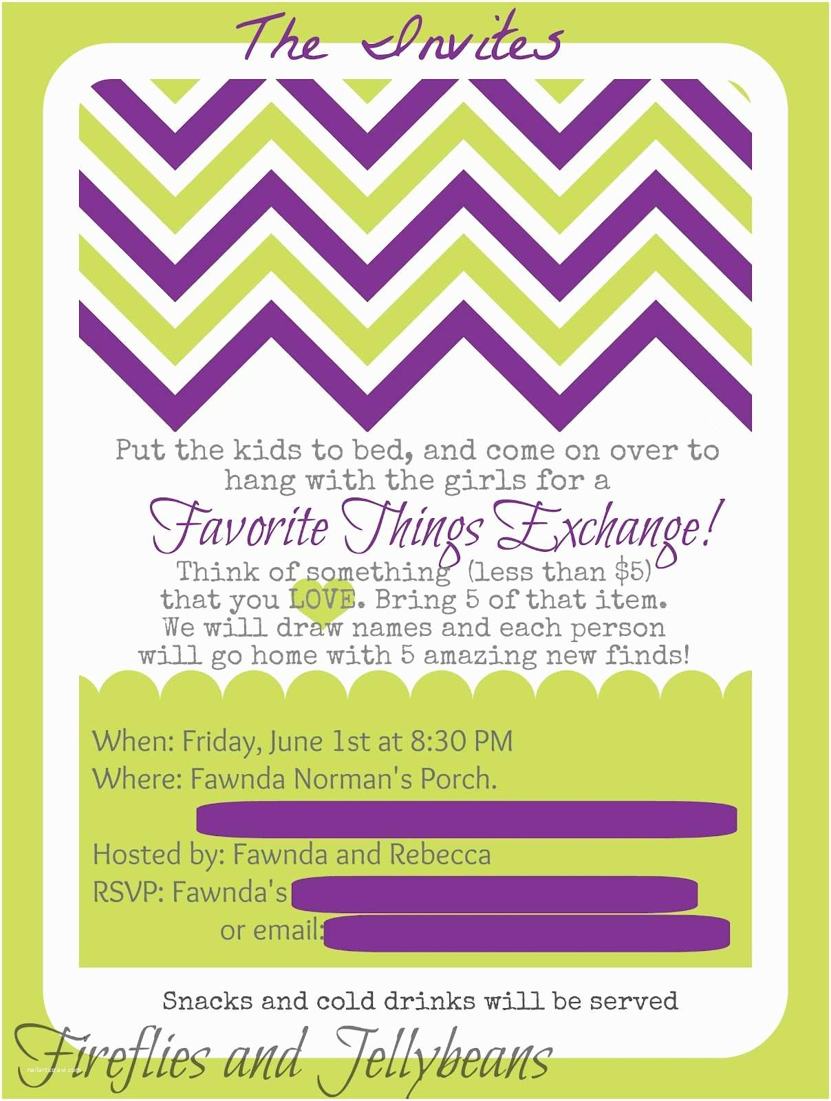 Favorite Things Party Invitation Fireflies and Jellybeans Favorite Things Party