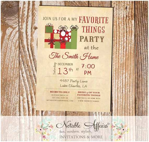 Favorite Things Party Invitation Items Similar to Vintage My Favorite Things Party
