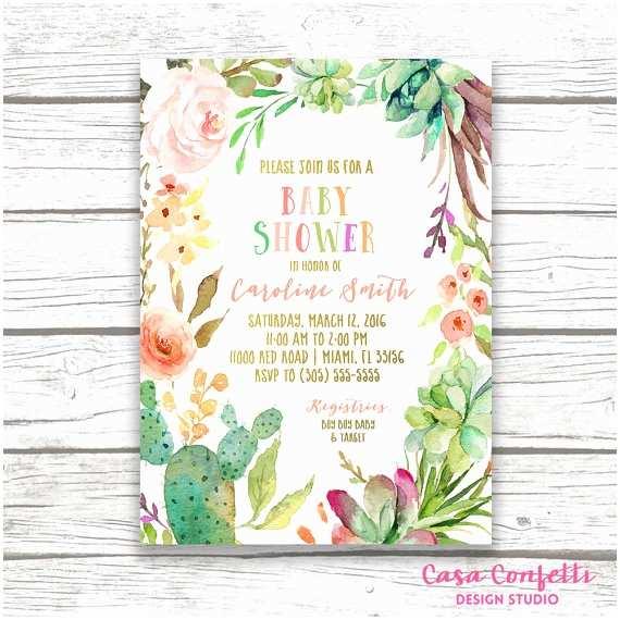 Fiesta Baby Shower Invitations Cactus Baby Shower Invitation Fiesta Baby Shower Invitation