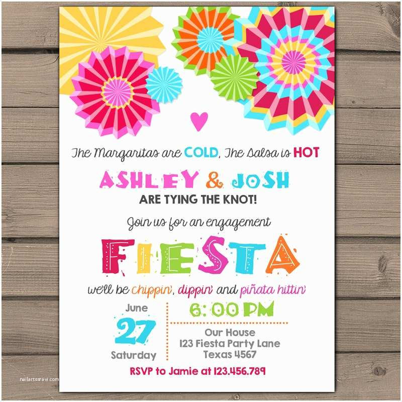 Fiesta Birthday Invitations Engagement Party Invitation Fiesta Engagement Party Invite