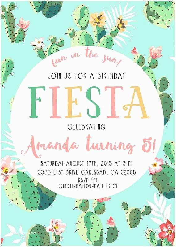 Fiesta Birthday Invitations Fiesta Birthday Party Invitation Cactus Boho Printable