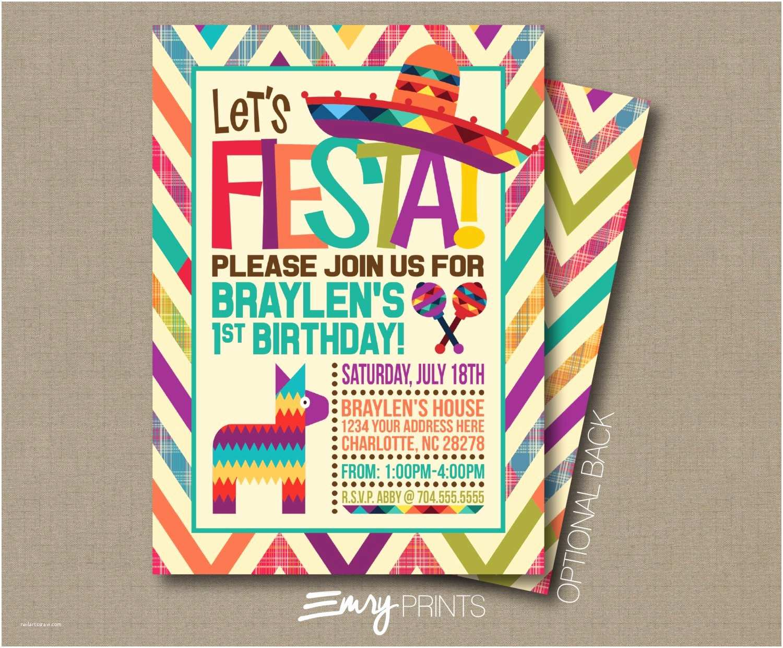 Fiesta Birthday Invitations Fiesta Invitation Fiesta Birthday Invitation by Emryprints