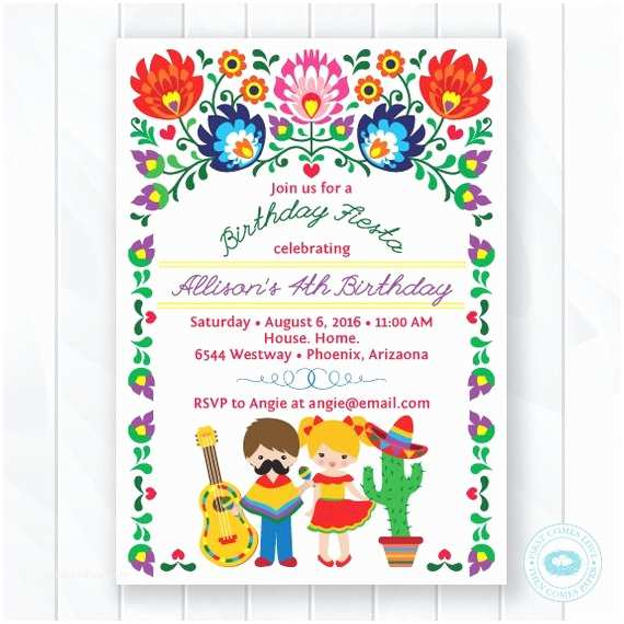 Fiesta Birthday Invitations Kids Fiesta Birthday Invitation Children S Mexican Fiesta