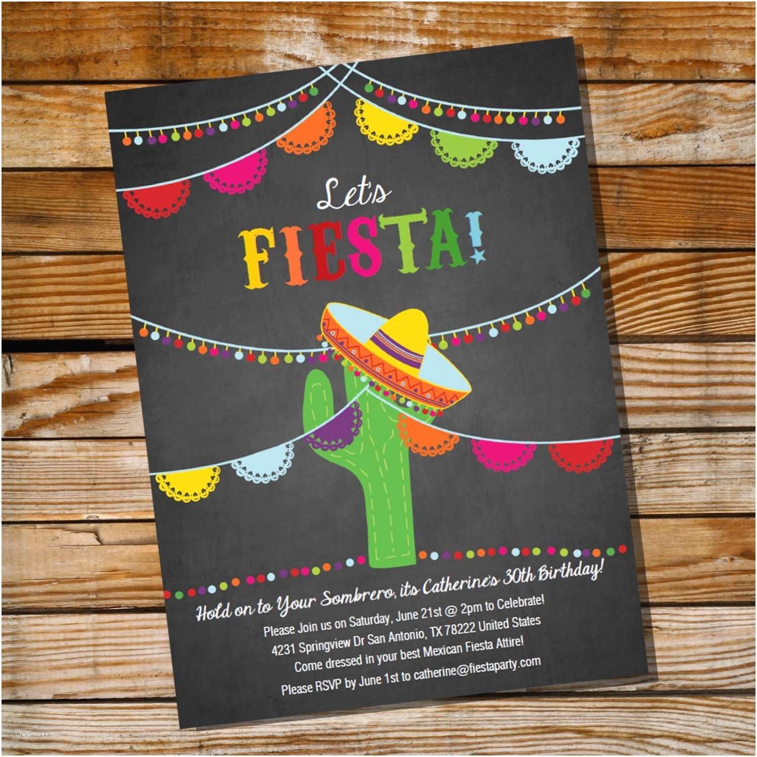Fiesta Birthday Invitations Mexican Fiesta Birthday Invitation 16th 30th 40th 50th 60th