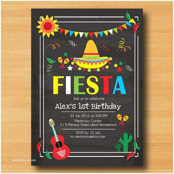 Fiesta Birthday Invitations Mexican Fiesta Birthday Invitation From Miprincess On Etsy
