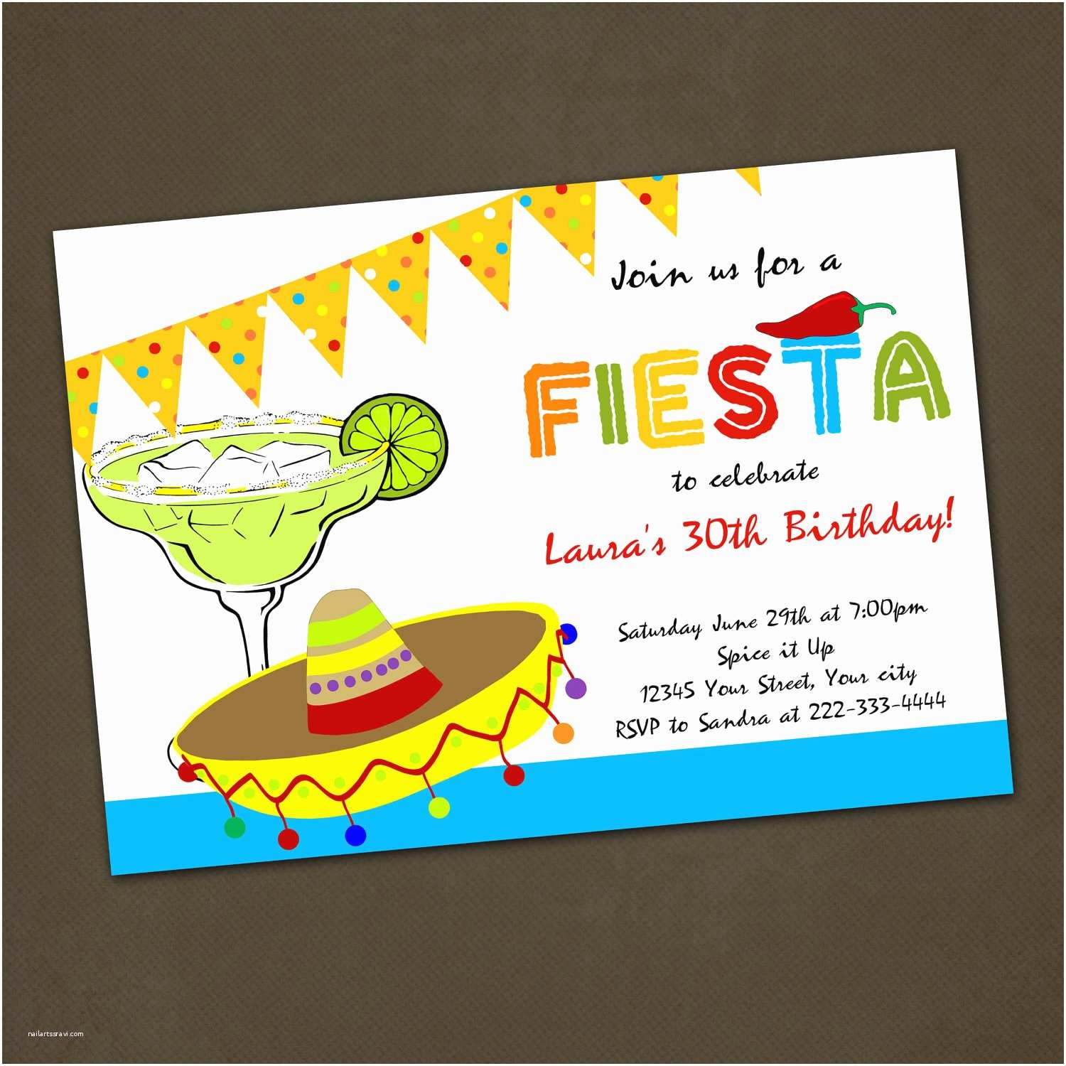 Fiesta Birthday Invitations Mexican Fiesta Birthday Party Invitations You by