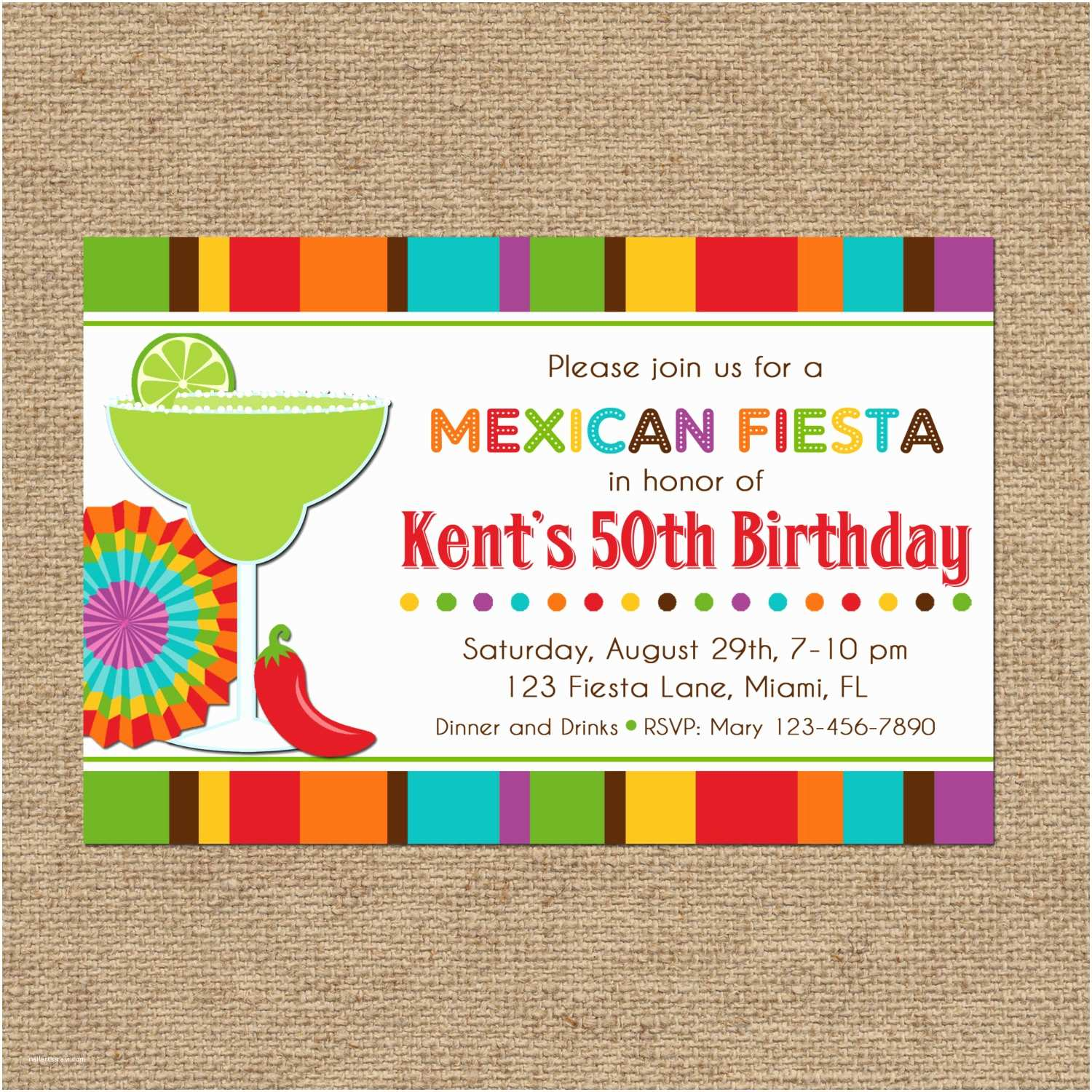 Fiesta Birthday Invitations Mexican Fiesta Party Invitation Printable or Printed with Free