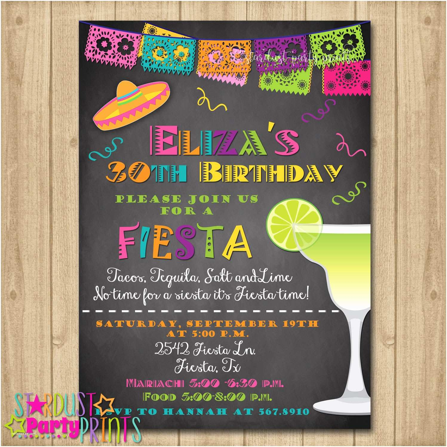 Fiesta Party Invitations Fiesta Birthday Invitation 30th Birthday Fiesta Invitation