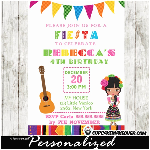 Fiesta Party Invitations Mexican Fiesta Invitations Personalized Cupcakemakeover