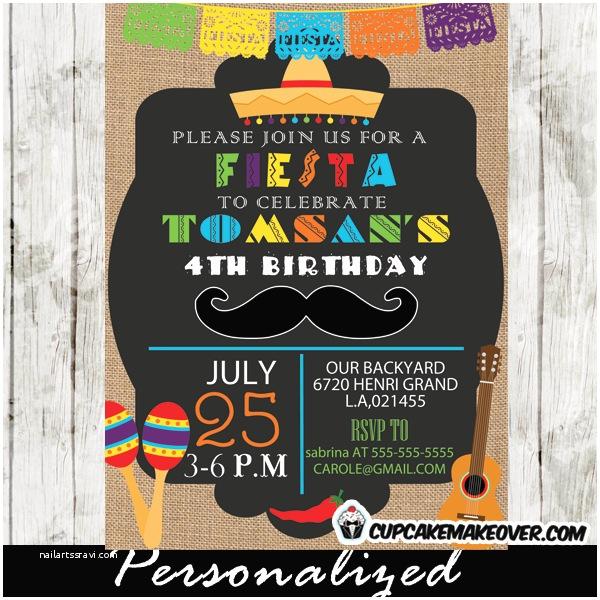 Fiesta Party Invitations Mexican Mustache Fiesta Party Invitation Personalized