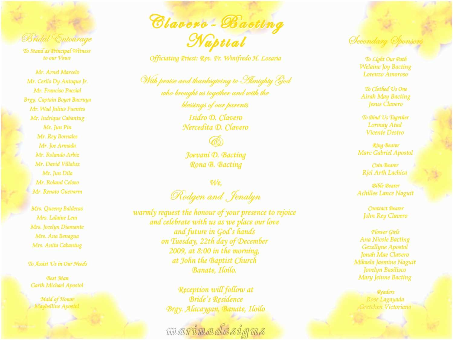 Filipino Wedding Invitation Sample Printable Wedding Invitation with Entourage Yaseen for