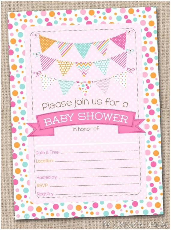 Fill In Baby Shower Invitations Fill In Baby Shower Invitations Polka Dotty by