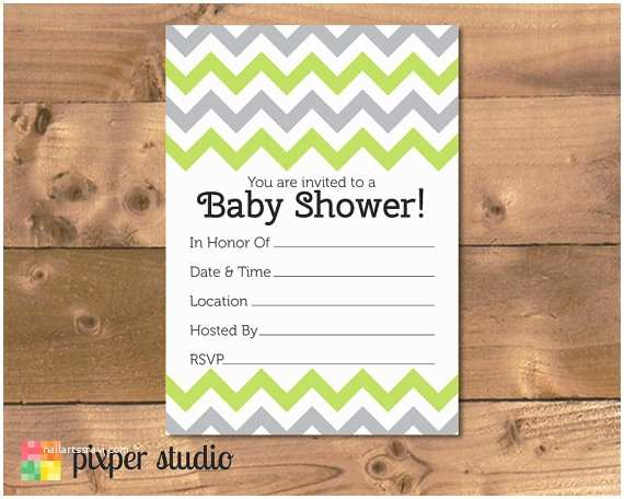 Fill In Baby Shower Invitations Instant Download Chevron Baby Shower Fill In Invitation