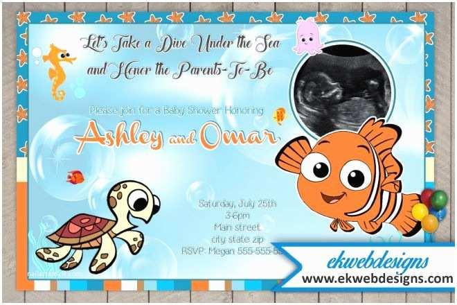 custom sonogram baby shower invitations featuring finding nemo
