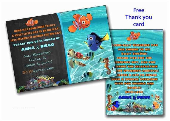 Finding Nemo Baby Shower Invitations Finding Nemo Baby Shower Invitation Finding Dory Boy or Girl
