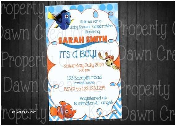 Finding Nemo Baby Shower Invitations Finding Nemo Birthday Party Invitation Size Your Choice