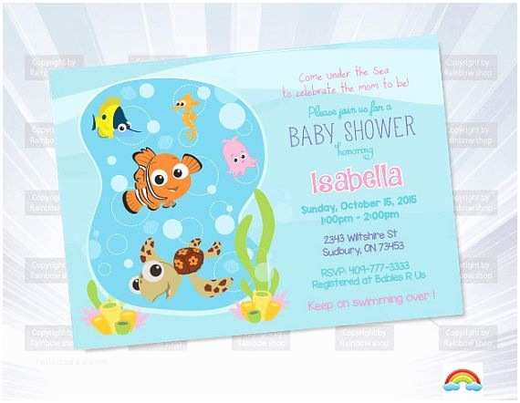 Finding Nemo Baby Shower Invitations Finding Nemo Invitation Baby Shower by Ryandigital On