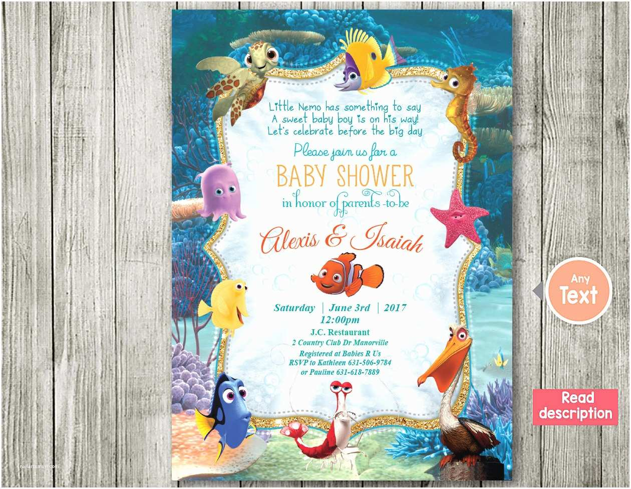Finding Nemo Baby Shower Invitations Finding Nemo Invitation Baby Shower Invitation Nemo Baby