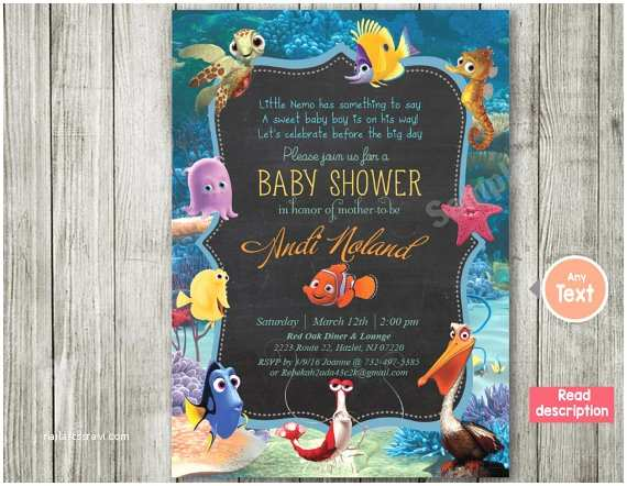 Finding Nemo Baby Shower Invitations Finding Nemo Nemo Invitation Baby Shower by Bluebabystar