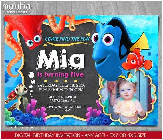 Finding Nemo Birthday Invitations Finding Dory Invitation Finding Nemo Dory Invite