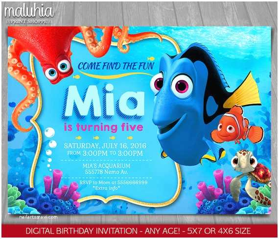 Finding Nemo Birthday Invitations Finding Dory Invitation Finding Nemo Dory Invite Disney