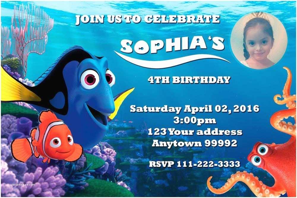 Finding Nemo Birthday Invitations Finding Dory Nemo Birthday Party Invitations Personalized