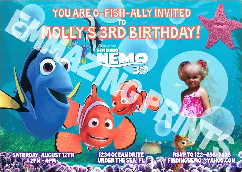 Finding Nemo Birthday Invitations Finding Nemo Birthday Invitation Custom