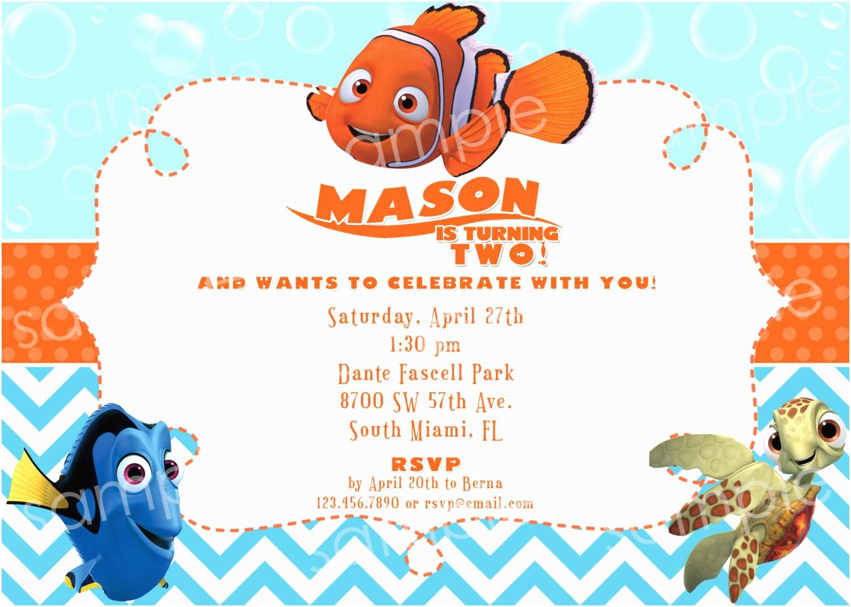 Finding Nemo Birthday Invitations Finding Nemo Birthday Invitation Diy Digital By