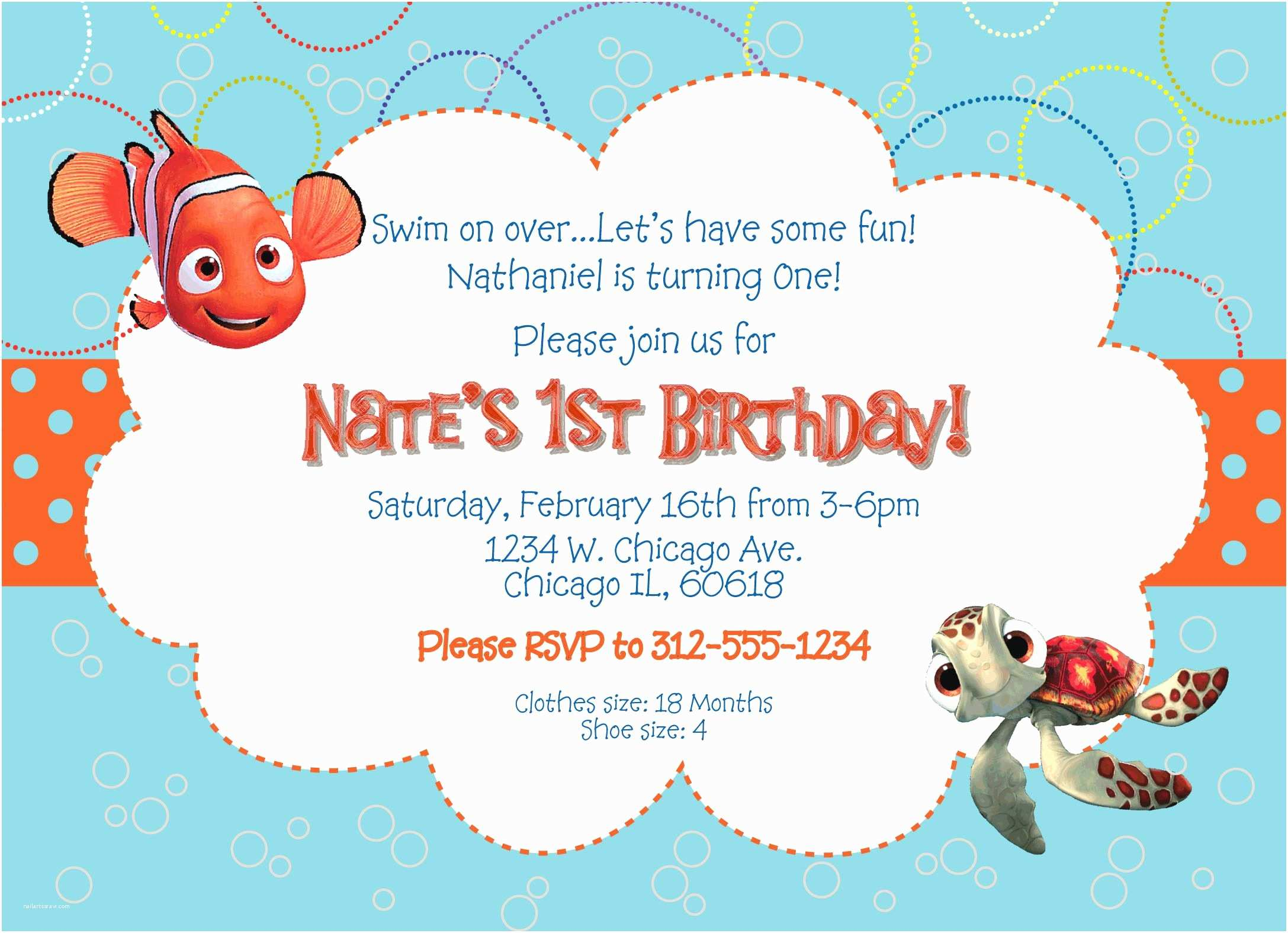 Finding Nemo Birthday Invitations Finding Nemo Birthday Invitations And Ideas How
