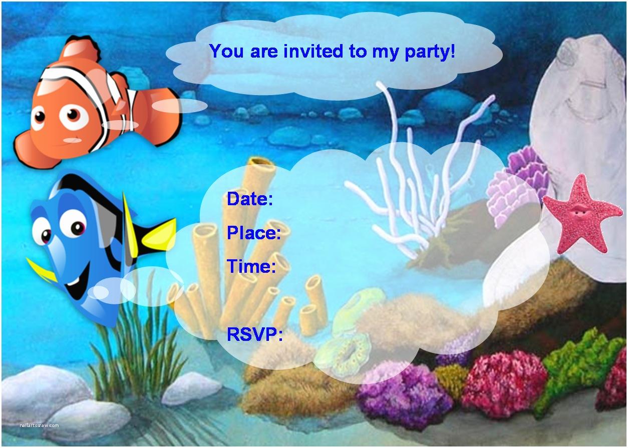 Finding Nemo Birthday Invitations Finding Nemo Birthday Party Invitation Free Pdf