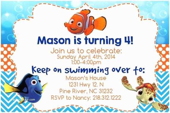 Finding Nemo Birthday Invitations Finding Nemo Invitation Printable 4x6 File