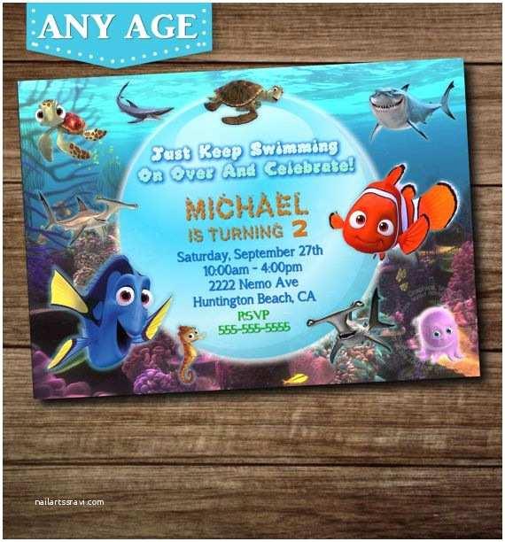 Finding Nemo Birthday Invitations You Choose Nemo Birthday Invitation Nemo Invitation Nemo