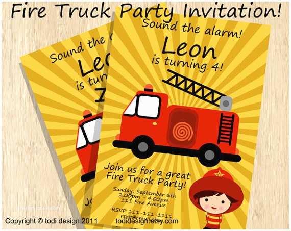 Fire Truck Birthday Invitations Birthday Party Invitations Fire Truck Birthday Invitation