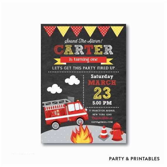 Fire Truck Birthday Invitations Fire Truck Birthday Invitation Firetruck Invitation Fire