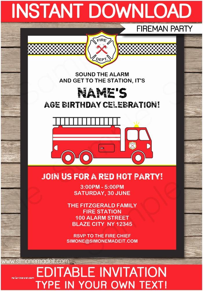 Fire Truck Birthday Invitations Fire Truck Party Invitations Template
