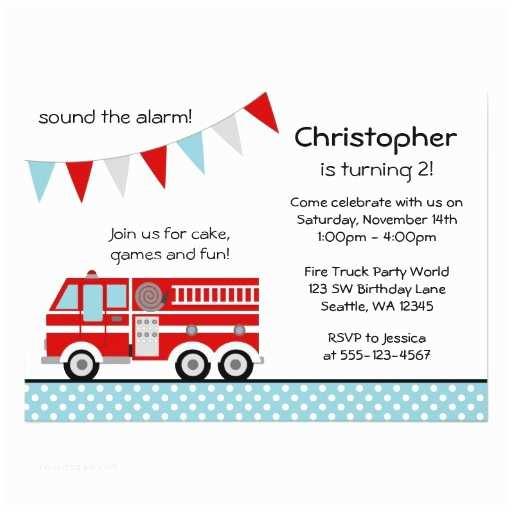 "Fire Truck Birthday Invitations Fire Truck Polka Dot Banner Boy Birthday Party 5"" X 7"