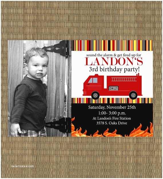 Fire Truck Birthday Invitations Items Similar to Printable Fire Truck Birthday Invitation