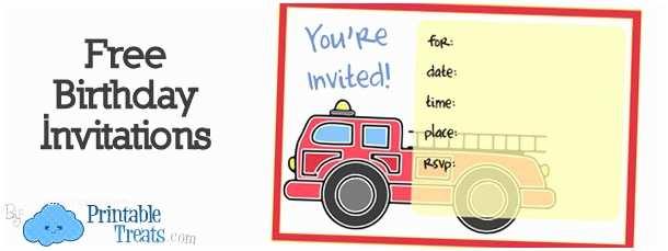 Fire Truck Birthday Invitations Printable Fire Truck Invitations — Printable Treats
